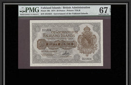 TT PK 0010b 1974 50 PENCE FALKLAND ISLANDS PMG 67 EPQ SUPERB GEM UNCIRCULATED