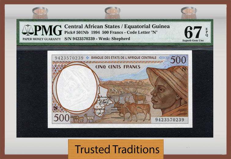 TT PK 0501Nb 1994 CENTRAL AFRICAN STATES 500 FRANCS PMG 67 EPQ SUPERB GEM