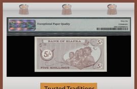 TT PK 0001 ND (1968) BIAFRA 5/-SHILLINGS PMG 66 EPQ GEM UNC NONE FINER KNOWN!
