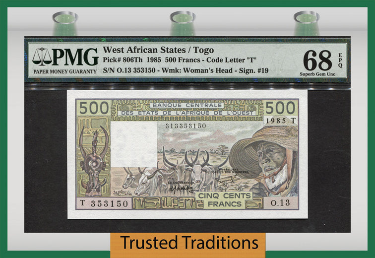 TT PK 0806Th 1985 WEST AFRICAN STATES 500 FRANCS PMG 68 EPQ SUPERB TOP POP!