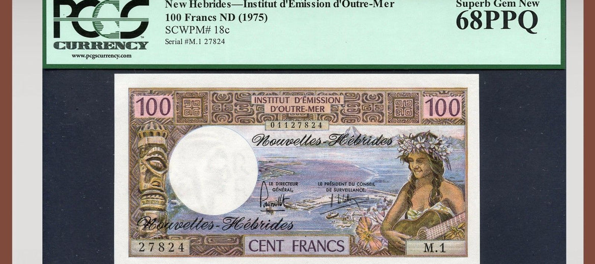 TT PK 0018c ND 1975 NEW HEBRIDES 100 FRANCS PCGS 68 PPQ SUPERB GEM NEW POP TWO