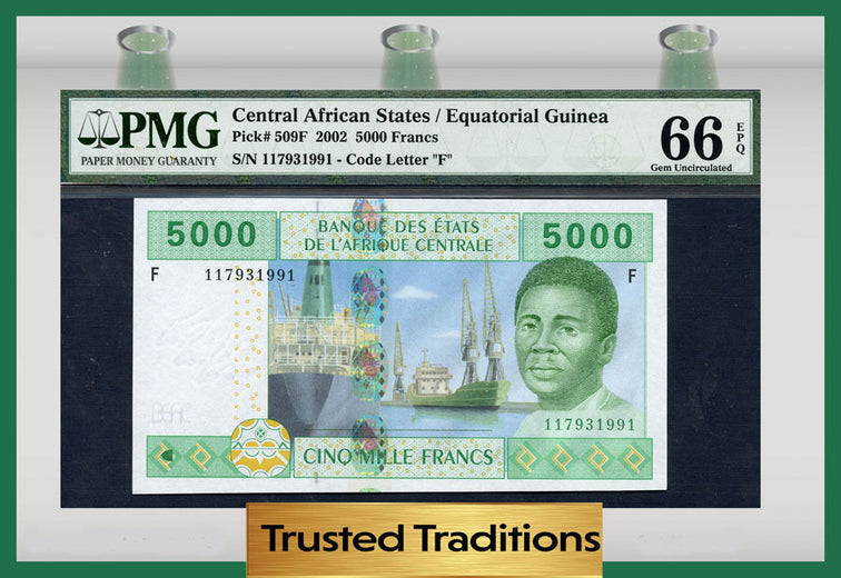 TT PK 0509F 2002 CENTRAL AFRICAN STATES 5000 FRANCS PMG 66 EPQ POP 2 NONE FINER!