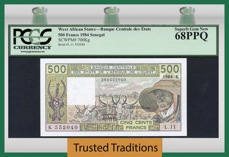 TT PK 0706Kg 1984 WEST AFRICAN STATES 500 FRANCS PCGS 68 PPQ SUPERB TOP POP!
