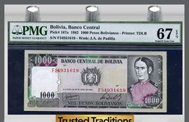 TT PK 0167a 1982 BOLIVIA 1,000 PESOS BOLIVIANOS PMG 67 EPQ POP ONE FINEST KNOWN!