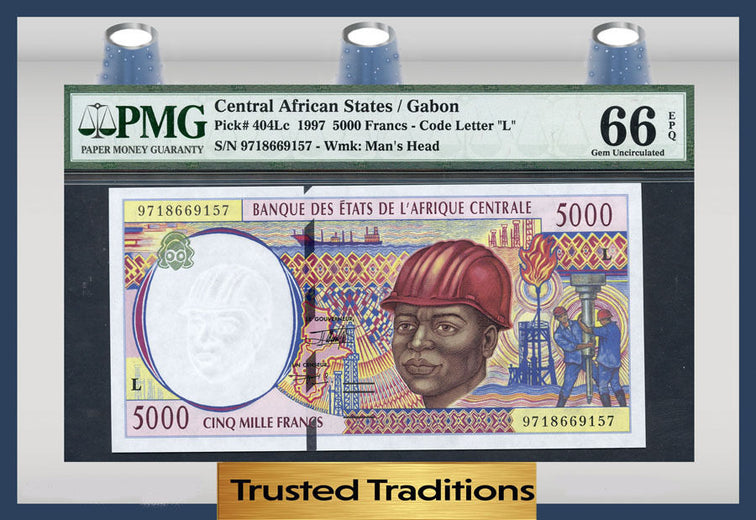 TT PK 0404Lc 1997 CENTRAL AFRICAN STATES 5000 FRANCS PMG 66 EPQ POP ONE