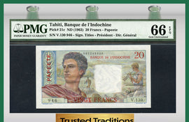 TT PK 0021c 1963 TAHITI 20 FRANCS PMG 66 EPQ GEM UNCIRCULATED NONE FINER
