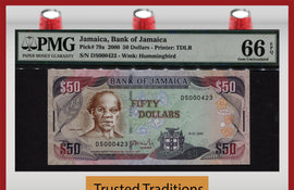 "TT PK 0079a 2000 JAMAICA 50 DOLLARS ""SAMUEL SHARPE"" PMG 66 EPQ GEM POP TWO 1 OF 2!"