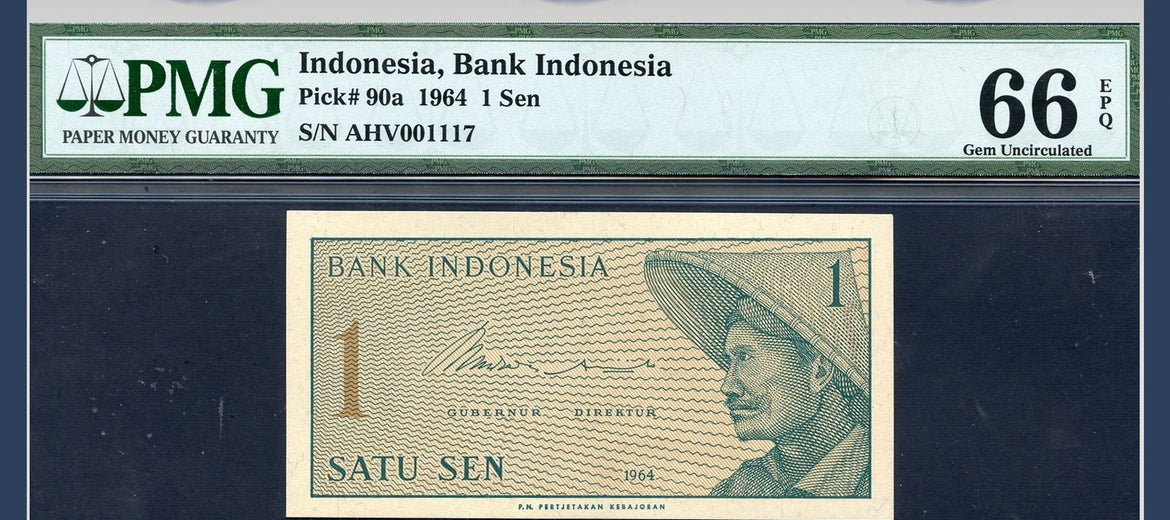 TT PK 0090a 1964 INDONESIA 1 SEN PMG 66 EPQ GEM UNCIRCULATED TWO OF TWO