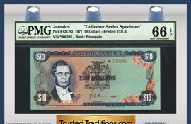 "TT PK 0062CS2 1977 JAMAICA 10 DOLLARS ""COLLECTORS SERIES SPECIMEN"" PMG 66 EPQ"