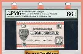 TT PK 0014c 1949 FAEROE ISLANDS 10 KRONUR PMG 66 EPQ GEM POP ONE FINEST KNOWN!