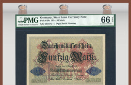 TT PK 0049b 1914 GERMANY 50 MARK 7 DIGIT SERIAL NUMBER PMG 66 EPQ GEM