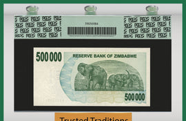 TT PK 0051 2007 ZIMBABWE 500000 DOLLARS ELEPHANTS PCGS 66 PPQ GEM NEW FINEST KNOWN