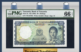 TT PK 0003e 1966 TANZANIA 20/ SHILLINGS PMG 66 EPQ GEM FINEST KNOWN