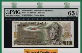 TT PK 0058b 1969-75 GUATEMALA 1/2 QUETZAL PMG 65 EPQ GEM UNCIRCULATED POP THREE!