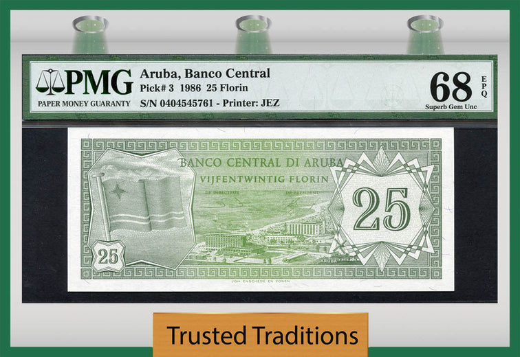 TT PK 0003 ARUBA 1986 25 FLORIN PMG 68 EPQ SUPERB GEM UNCIRCULATED FINEST KNOWN