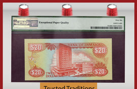 TT  PK 0072c 1989 JAMAICA 20 DOLLARS PMG 66 EPQ GEM UNCIRCULATED FINEST KNOWN