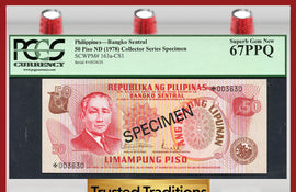 "TT PK 0163a-CS1 1978 PHILIPPINES 50 PISO ""COLLECTOR SERIES SPECIMEN"" PCGS 67 PPQ"
