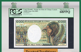 TT PK 0007 1983 CONGO REPUBLIC 10,000 FRANCS PCGS 68 PPQ SUPERB GEM NONE FINER!