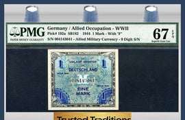 TT PK 0192a GERMANY ALLIED MILITARY CURRENCY 1 MARK PMG 67 EPQ SUPERB NONE FINER!