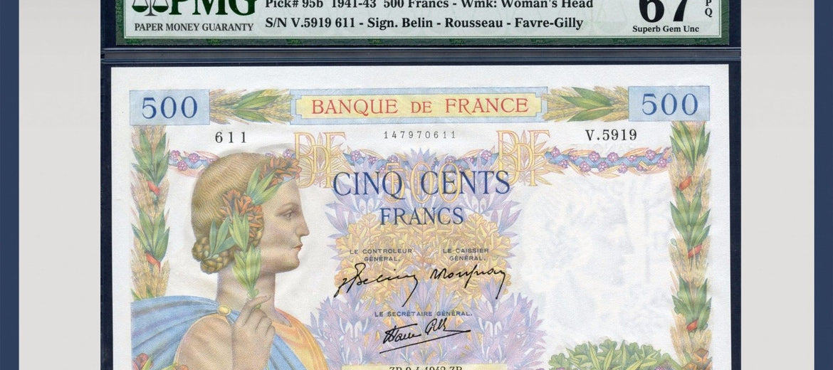 TT PK 0095b 1941-43 FRANCE 500 FRANCS PMG 67 EPQ SUPERB GEM STELLAR NOTE!