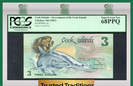 "TT PK 0003a 1987 COOK ISLANDS 3 DOLLARS ""GOD TE-RONGO"" ""INA & SHARK"" PCGS 68 PPQ"