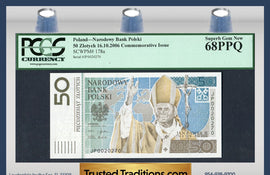 "TT PK 0178a 2006 POLAND 50 ZLOTYCH PCGS 68 PPQ SUPERB GEM NEW ""POPE JOHN PAUL II"""