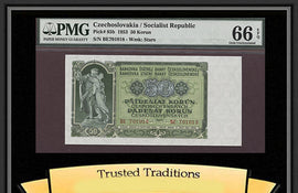 TT PK 0085b 1953 CZECHOSLOVAKIA 50 KORUN PMG 66 EPQ GEM UNCIRCULATED NONE FINER
