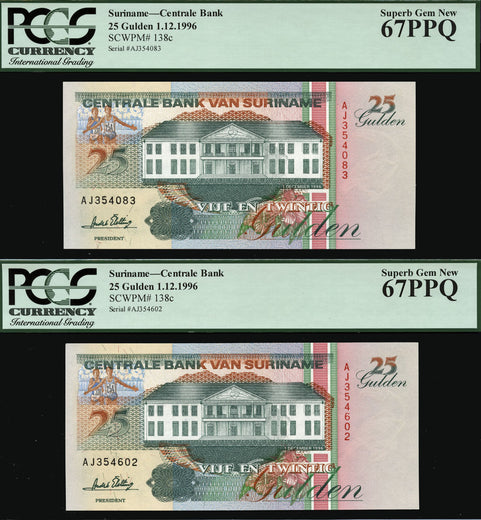 TT PK 0138c 1996 SURINAME 25 GULDEN TWO NOTE SET PCGS 67 PPQ GEM NONE FINER