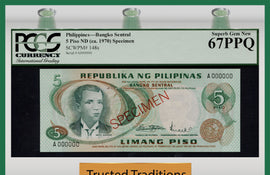 TT PK 0148s 1970 PHILIPPINES 5 PISO SPECIMEN PCGS 67 PPQ SUPERB GEM TIED AS BEST!