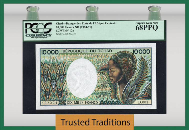 TT PK 0012a 1984-91 CHAD 10000 FRANCS PCGS 68 PPQ SUPERB GEM NEW NONE GRADED FINER