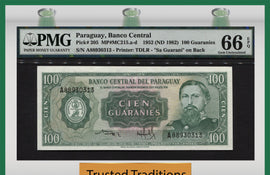 "TT PK 0205 1952 PARAGUAY 100 GUARANIES ""JOSE E. DIAZ"" PMG 66 EPQ GEM UNCIRCULATED"