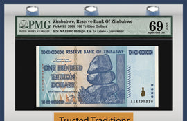 TT PK 0091 2008 ZIMBABWE 100 TRILLION DOLLARS RESERVE BANK PMG 69 EPQ SUPERB GEM