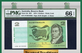 "TT PK 0043c 1979 AUSTRALIA 2 DOLLARS ""SHEEP"" PMG 66 EPQ GEM UNCIRCULATED"