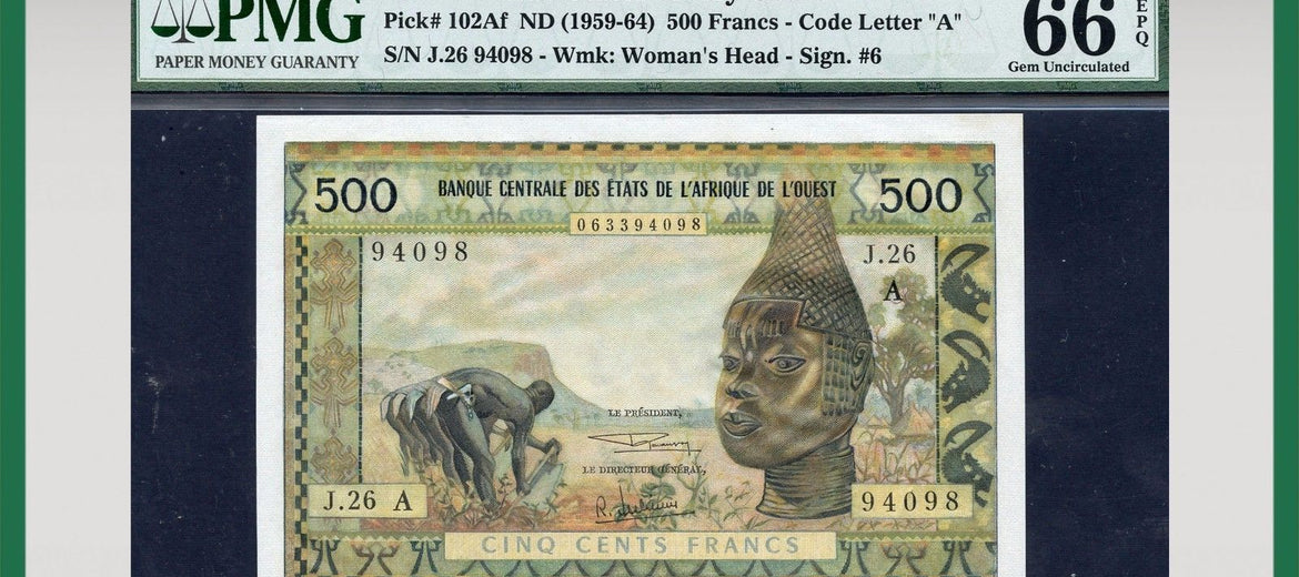 TT PK 0102Af 1959-64 WEST AFRICAN STATES 500 FRANCS PMG 66 EPQ POP 2 THIS LEVEL!