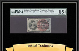 TT FR 1259 10 CENT FOURTH ISSUE FRACTIONAL PMG 65 EPQ GEM UNCIRCULATED