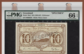 TT PK 0019s2 ND (1953-67) GREENLAND 10 KRONER SPECIMEN PMG 66 EPQ GEM UNCIRCULATED