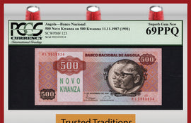 TT PK 0123 1987 ANGOLA 500 NOVO KWANZA PCGS 69 PPQ SUPERB GEM NEW POP 10 FINEST