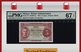 TT PK 0007b 1941 MALAYA BRITISH ADMINISTRATION 5 CENTS PMG 67 EPQ SUPERB GEM UNC!!!