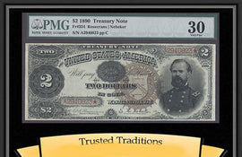 TT FR 0354 1890 $2 TREASURY NOTE SCARCE LARGE BROWN SEAL PMG 30 VERY FINE