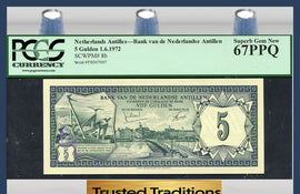 TT PK 0008b 1972 NETHERLANDS ANTILLES 5 GULDEN PCGS 67 PPQ POP THREE NONE FINER!