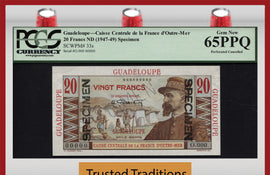 TT PK 0033s 1947-49 GUADELOUPE 20 FRANCS SPECIMEN PCGS 65 PPQ GEM NEW FINEST KNOWN
