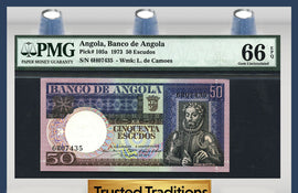 TT PK 0105a 1973 ANGOLA 50 ESCUDOS PMG 66 EPQ GEM POP ONE FINEST KNOWN!