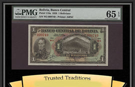 TT PK 0118a 1928 BOLIVIA 1 BOLIVIANO PMG 65 EPQ GEM UNC. POP ONE NONE FINER