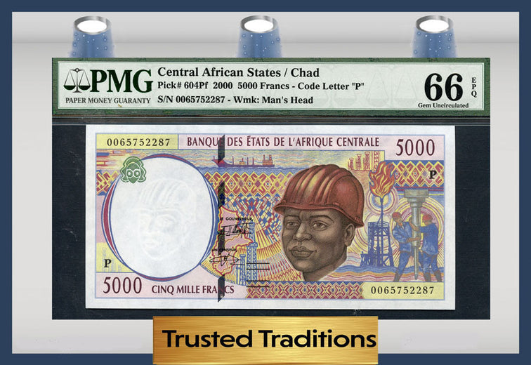 TT PK 0604Pf 2000 CENTRAL AFRICAN STATES / CHAD 5000 FRANCS PMG 66 EPQ GEM!