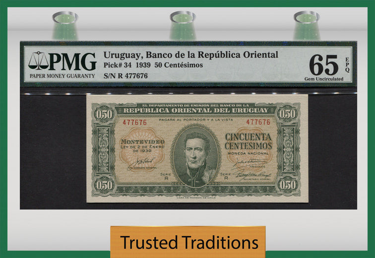 TT PK 0034 1939 URUGUAY 50 CENTESIMOS PMG 65 EPQ GEM POP ONE FINEST KNOWN!