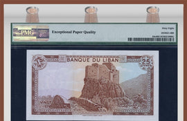 TT PK 0064c 1983 LEBANON 25 LIVRES PMG 68 EPQ SUPERB GEM UNC POPULATION OF TWO!