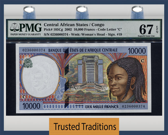 TT PK 0105Cg 2002 CENTRAL AFRICAN STATES 10000 FRANCS PMG 67 EPQ SUPERB POP THREE