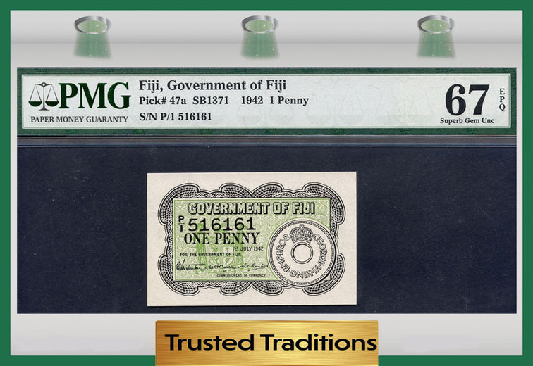 TT PK 0047a 1942  FIJI 1 PENNY PMG 67 EPQ SUPERB GEM UNCIRCULATED NONE FINER