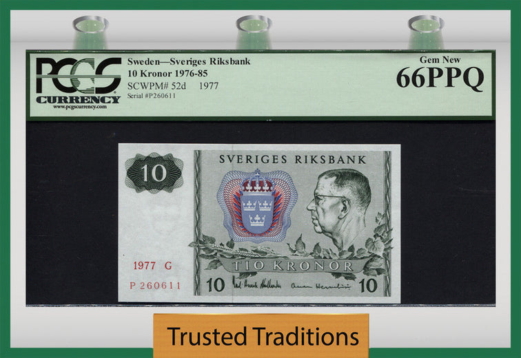TT PK 0052d 1976-85 SWEDEN 10 KRONOR PCGS 66 PPQ RARE IN GRADING - FINEST KNOWN!