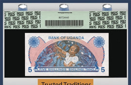 TT PK 0010 1979 UGANDA 5 SHILLINGS PGCS 67 PPQ SUPERB GEM NEW POPULATION OF ONE
